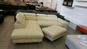 Krém színű valódi bőr kanapé