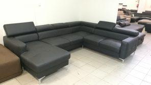Elegáns, klasszikus eleganciát tükröző fekete színű valódi bőrrel készült modern bútor