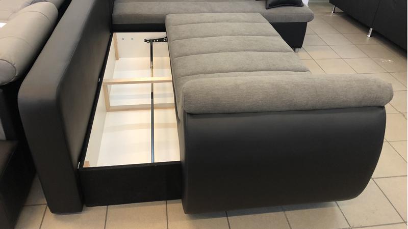 Rondo kanapé ágyneműtartóval és kiemelő vasalattal