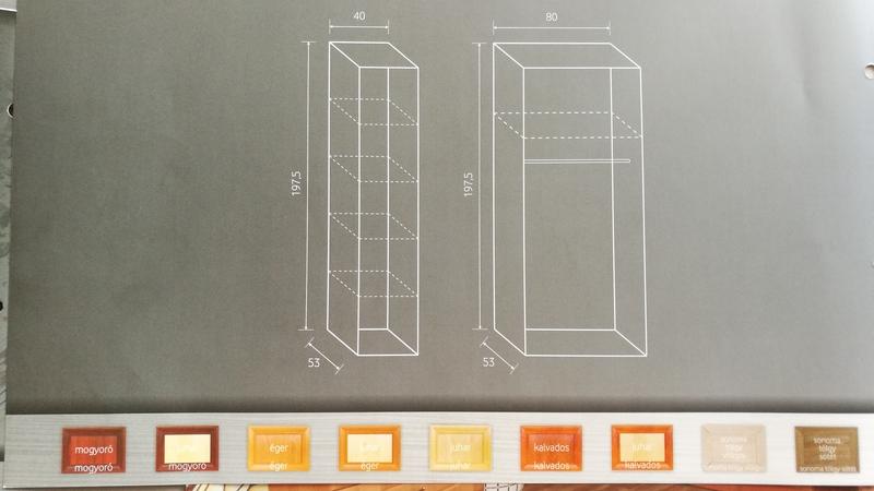 TINA gardrób belső felépítése és rendelhető színei