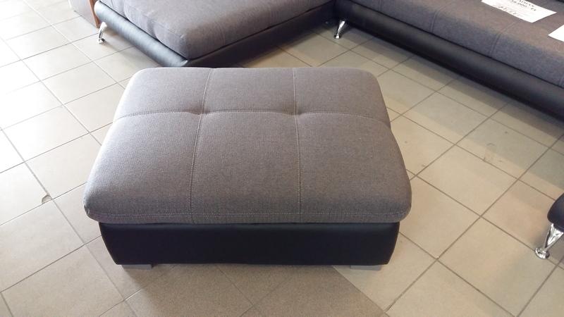 ETERNITY puff fekete textilbőr és antracit színű szövettel készült modern lakáskiegészítő bútor