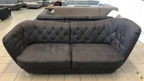 Retro sofa vikroriánus stílusban, bőrhatású szövettel