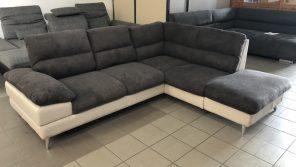 Ella L alakú sötétszürke-fehér kanapé