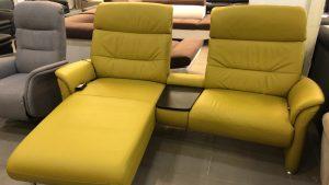 Morrrison mustársárga, bőr relax kanapé