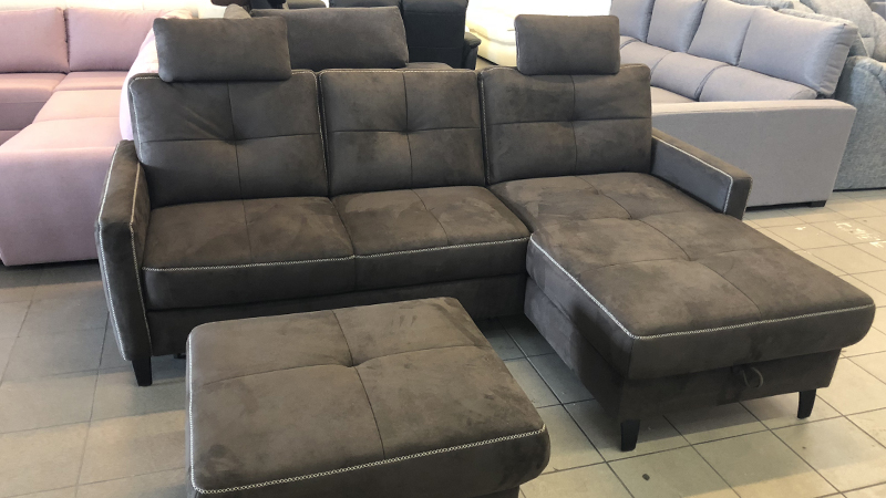 Hybe L alakú kanapé ajándék puffal