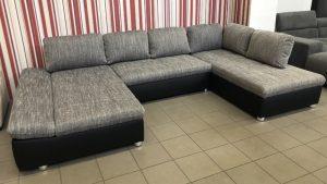 Fabona U alakú kanapé, szürke-fekete színben