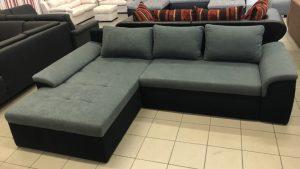 Keitum L alakú kanapé fekete-szürke kárpittal
