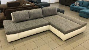 Fabona L alakú kanapé, fehér-szürke színkombinációban