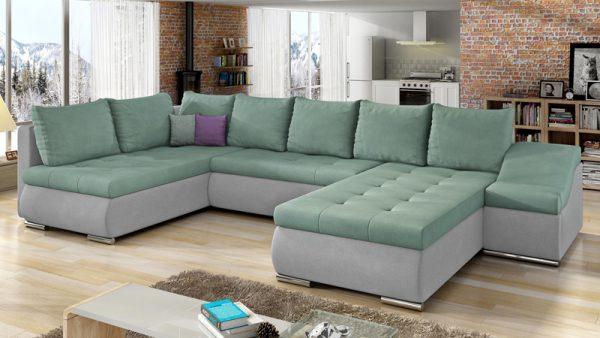 Pissaro U alakú kanapé hullám formájú karfával