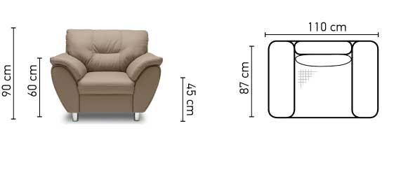 Andalúzia fotel mérete