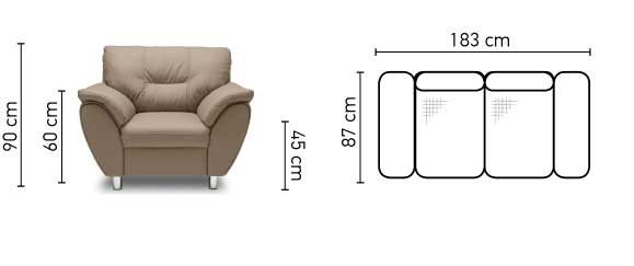 Andalúzia sofa mérete