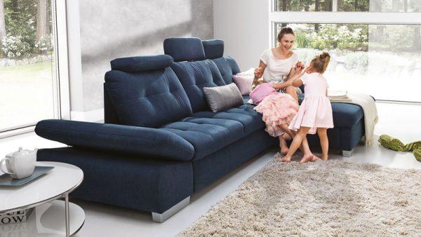 Cremona L alakú kanapé, kénylelmes steppelt felületekkel
