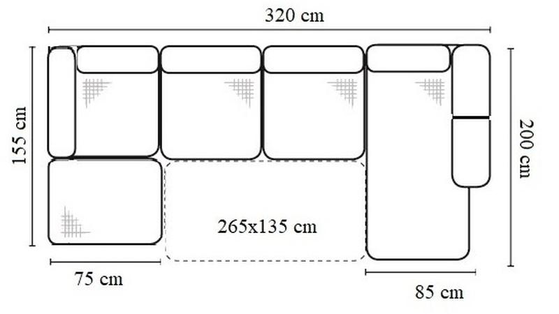 Sori U-alakú sarokgarnitúra méret